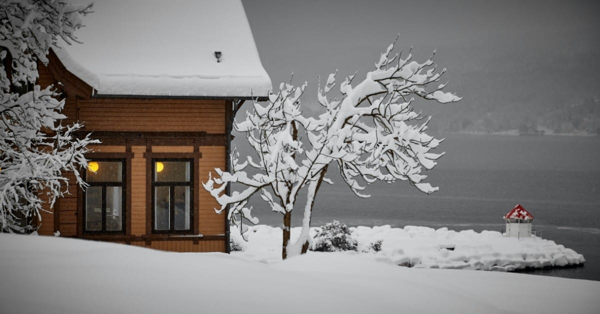 wyoming home covered in snow