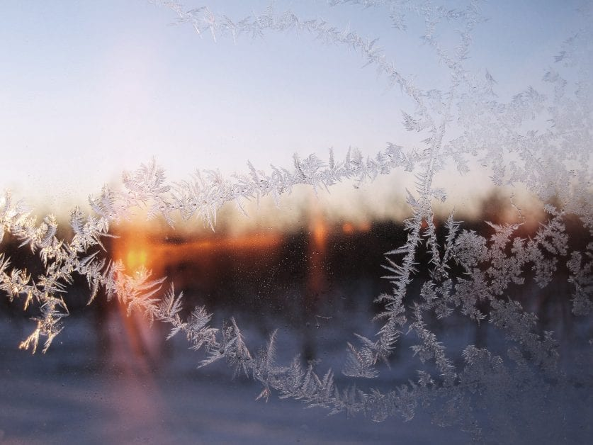 frost on window of a cold house